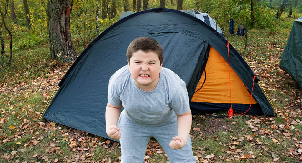 Angry boy farting on a tent.