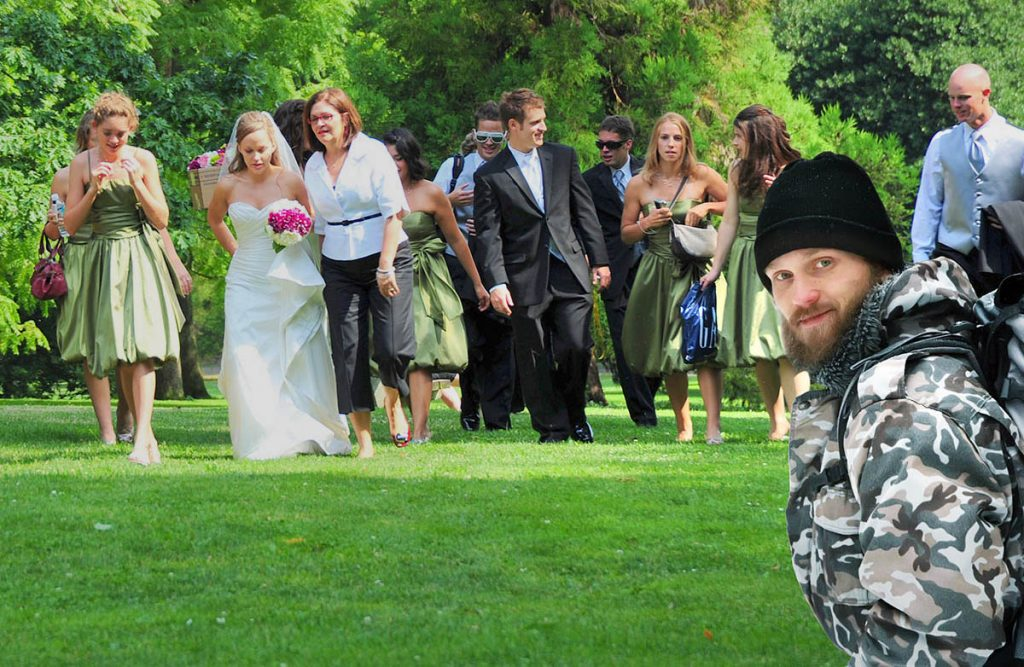Wearing camouflage clothing to a friends weeding
