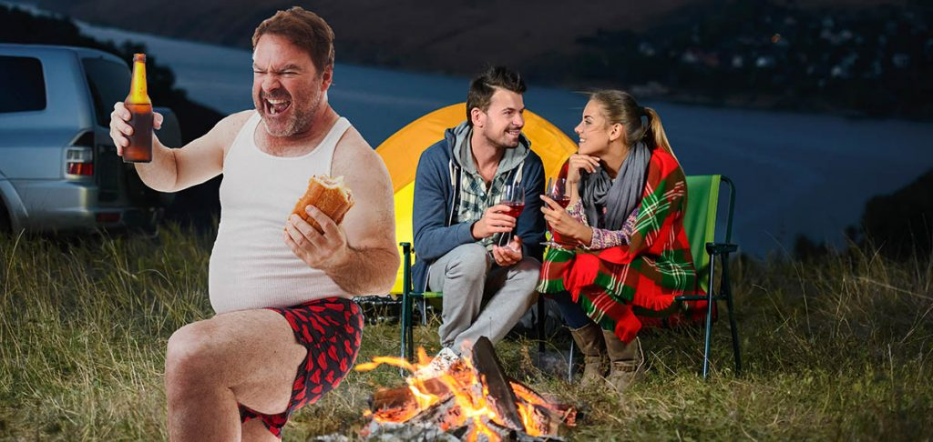 Man farting on a tent ruins romantic moment for a young couple