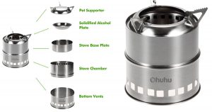 The Ohuhu Camping Stove is a simple and effective wood powered camp stove.